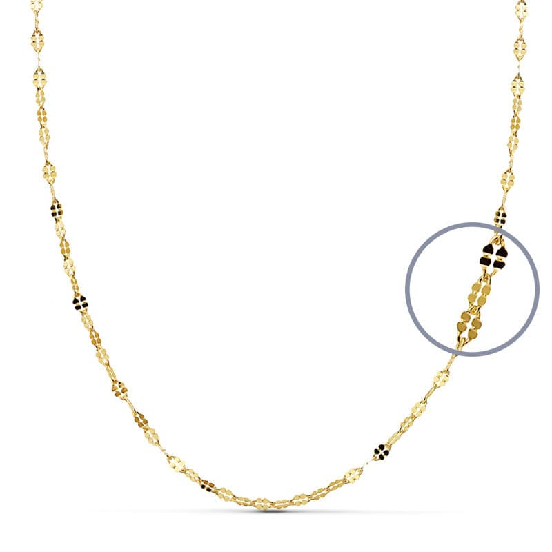 Cadena Diamantada 40 Cm X 1,5. 1.35 Grs.