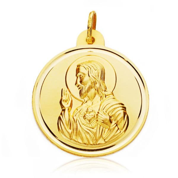Corazón De Jesus Bisel 28 Mm. 5,85 Grs