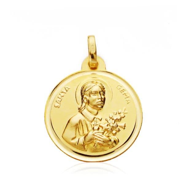 Medalla Santa Gema 18 Mm Bisel. 2,25 Grs
