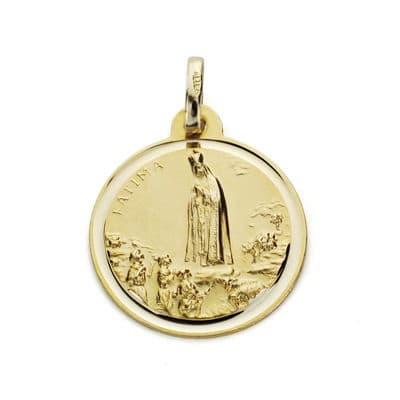 Medalla Virgen de Fátima 18mm. Bisel. 2.20grs